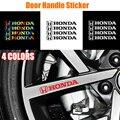 4 шт. стайлинга автомобилей Дверная ручка светоотражающие наклейки для Honda Mugen Civic XR-V UR-V город модуль Vezel Insight Vtec подходит Dohc CR-V RR