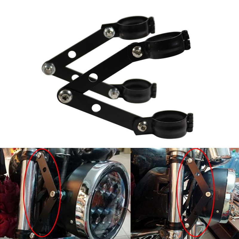 Qiilu Headlight Bracket Motorcycle Head Lamp Fork Clamps Mounting Brackets CNC Aluminum Universal Sizes Optional for Forks Tube 34-60mm 34-41mm