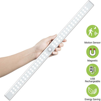 Magnetic 24 40 60 LED Sensor Cabinet Light USB Rechargeable Motion Sensor Led Lights for Bedroom Kitchen Closet Stairway