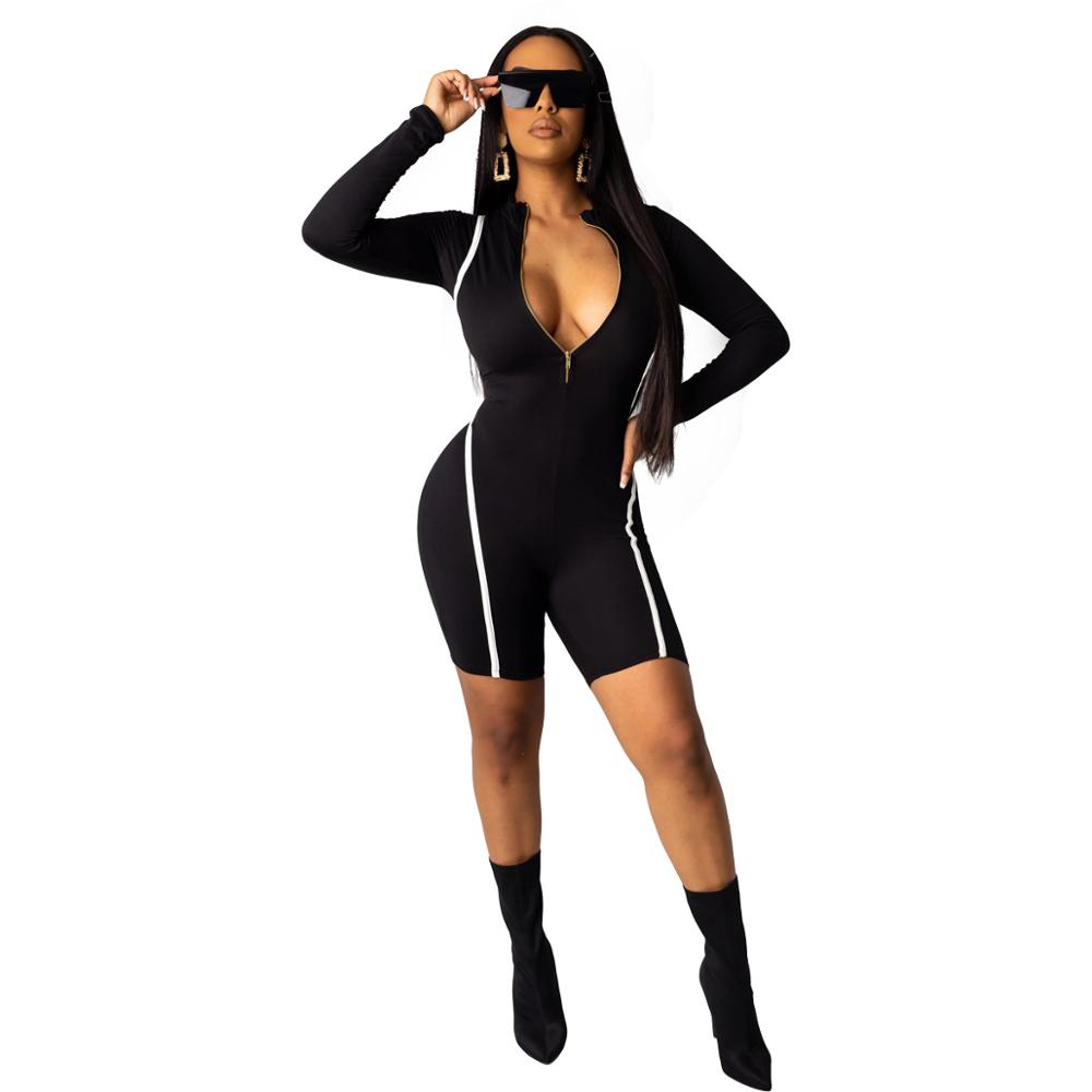 Echoine Women Strim Playsuit Full Sleeve Front Zipper Patchwork Shorts Rompers Women Jumpsuit 2020 Elastic Skinny Bodysuits