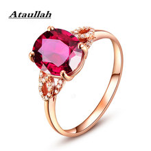 Ataullah Red Corundum Ruby Gemstone Ring for Women Sterling 925 Silver Jewelry 18K Rose Gold Fashion Adjustable Rings RW082