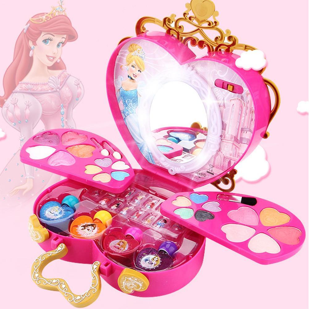 42pcs Disney Princess Makeup Box Children's Safety Cosmetics Set Makeup Box Toy Girl Play House Girls Makeup Box Toy Daughter