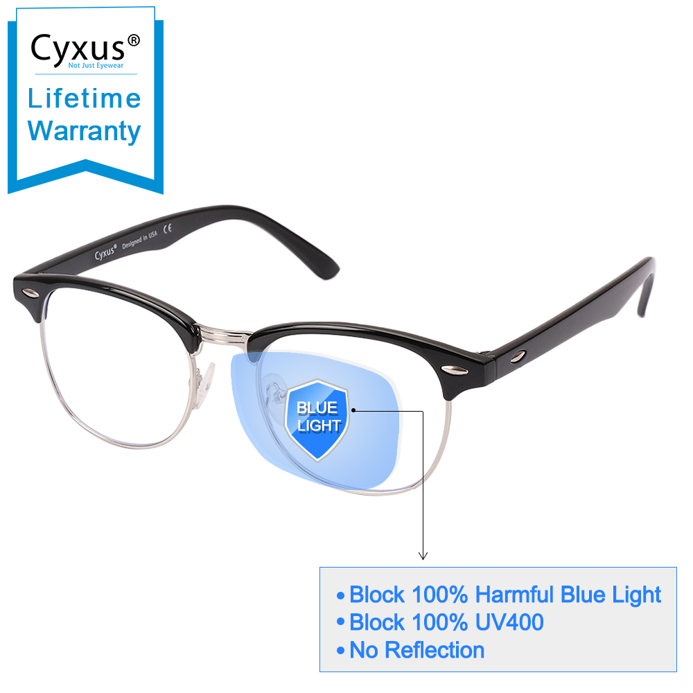 Cyxus Semi-Rimless Browline Blue Light Blocking Computer Glasses For Anti Eyestrain UV, Men/Women 8056