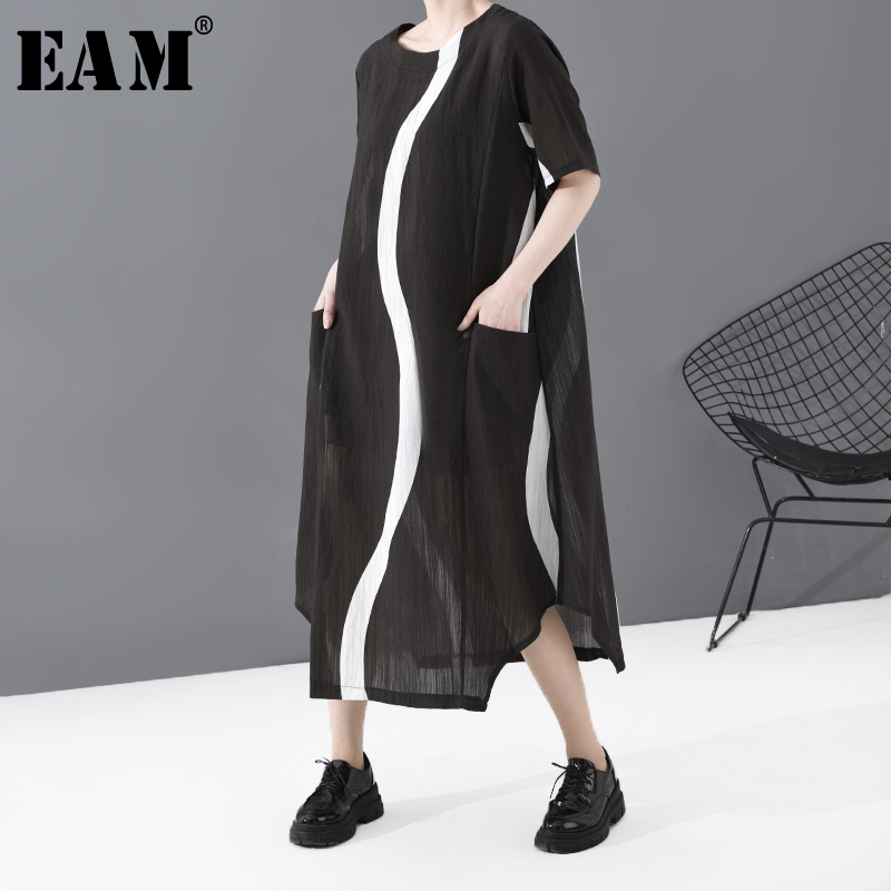 [EAM] Women Black Striped Split Joint Long Thin Dress New Round Neck Short Sleeve Loose Fit Fashion Spring Summer 2020 JS37201