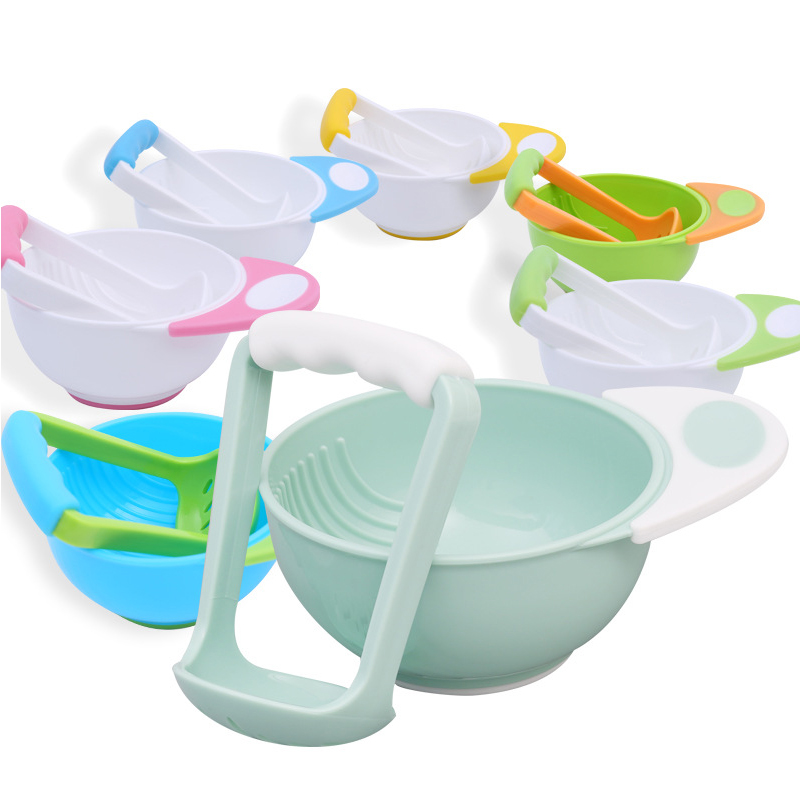 Baby Food Mills And Container Bowl Set Manual Grinding Dishes Baby Food Maker Tool Feeding Bowl Baby Fruit Food Containers Bowls