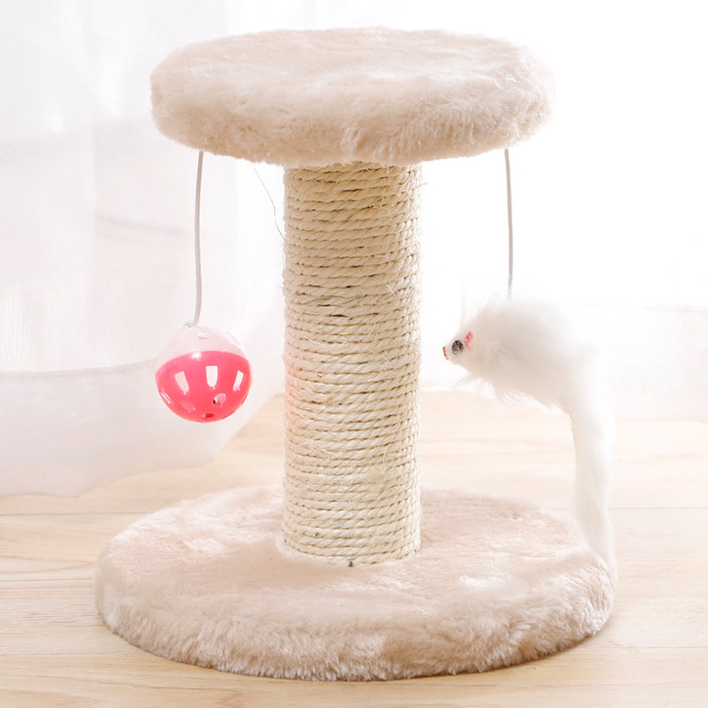 Cat Scratcher Tree Plush Cat Climbing Frame Pet Toy Double Drop Ball Mouse Plush Claw Sisal Column For Cat Grind Claws Catch 6