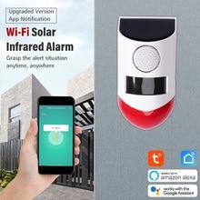 Angus NEW Tuya WiFi PIR Detector Siren 120db Strobe light Outdoor Solar Infrared Wireless Burglar Alarm System APP Notification