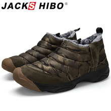 Jackshibo 2019 Winter New Design Ankle Snow Boots For Men Waterproof Camouflage Oxford Boots Shoes Outdoor Warm Fur Lining Shoes