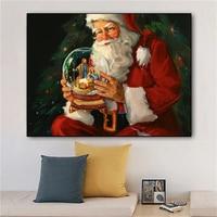Weihnachten Santa Claus Elch und Schnee Bild Leinwand Malerei Öl Malerei Poster Moderne Wand Kunst Bild In Schlafzimmer Dekor Hause