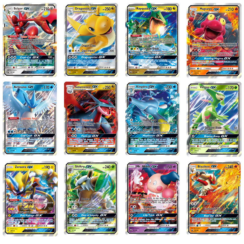 200 Pcs GX MEGA Shining TAKARA TOMY Pokemon Cards Game Battle Carte Trading Cards Game Children Toy