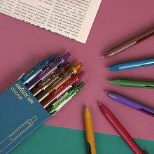 Jianwu 6 pçs/set 0.5mm retro colorido estrela gel caneta fosco penhold simples imprensa jornal neutro caneta escola material de escritório estudante