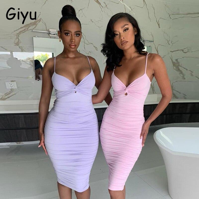 Giyu Sexy Club fête robe moulante femmes 2020 été col en V Spaghetti sangle dos nu longues robes élégant solide ruché Vestidos