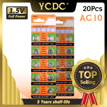 YCDC 20pcs 1.55V AG10 Button Battery LR1130 389 SR1130 189 LR54 Cell Coin Alkaline Batteries SR54 389 189 For Watch Toys Remote