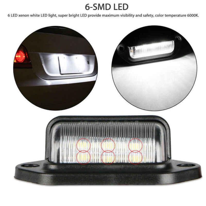2 Pcs 66*33*25 Mm Tahan Air IP65 6 LED 12V License Plate Lampu Mobil Perahu Truk trailer Langkah Lampu
