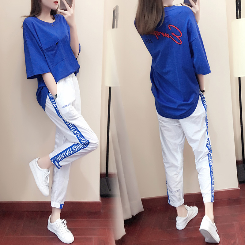 2019 Summer New Style Casual Sports WOMEN'S Suit Fashion Loose Korean-style Online Celebrity Elegant Playful Two-Piece Set Sprin