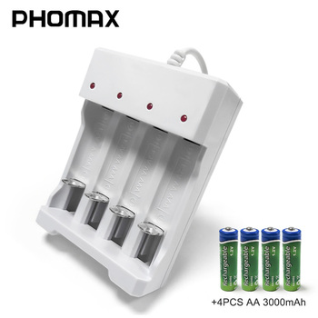 PHOMAX 4 Slot 1.2V Fast Rechargeable AA AAA Battery Charger 4pc NiMH/NiCd Battery Smart Portable LED universal battery charger цена 2017
