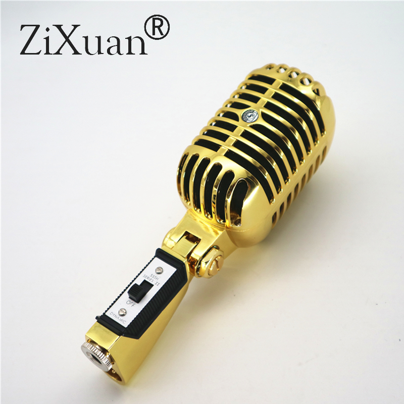 Gold Deluxe Metal 55SH II Professional Dynamic Microphone Vocal Classical Vintage Style Microfone 55 SH Series II Mic
