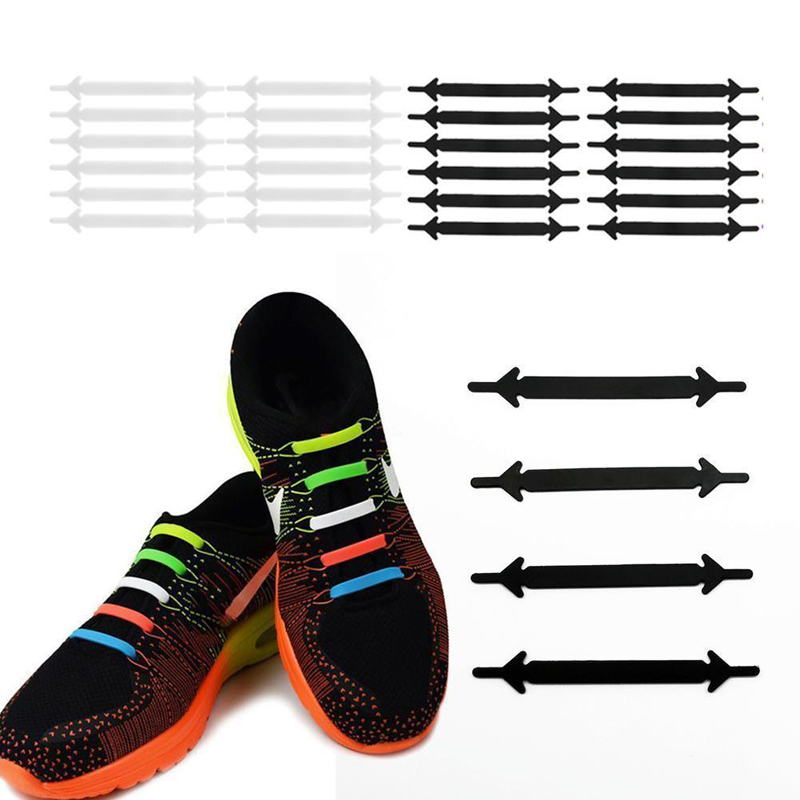 12pcs/pack Shoes Accessories Elastic Silicone Shoelaces Elastic Shoelace Creative Lazy Silicone Laces No Tie Rubber Shoe Lace