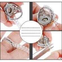 12 pçs de silicone invisível limpar anel tamanho ajustador resizer anéis frouxos redutor b36d