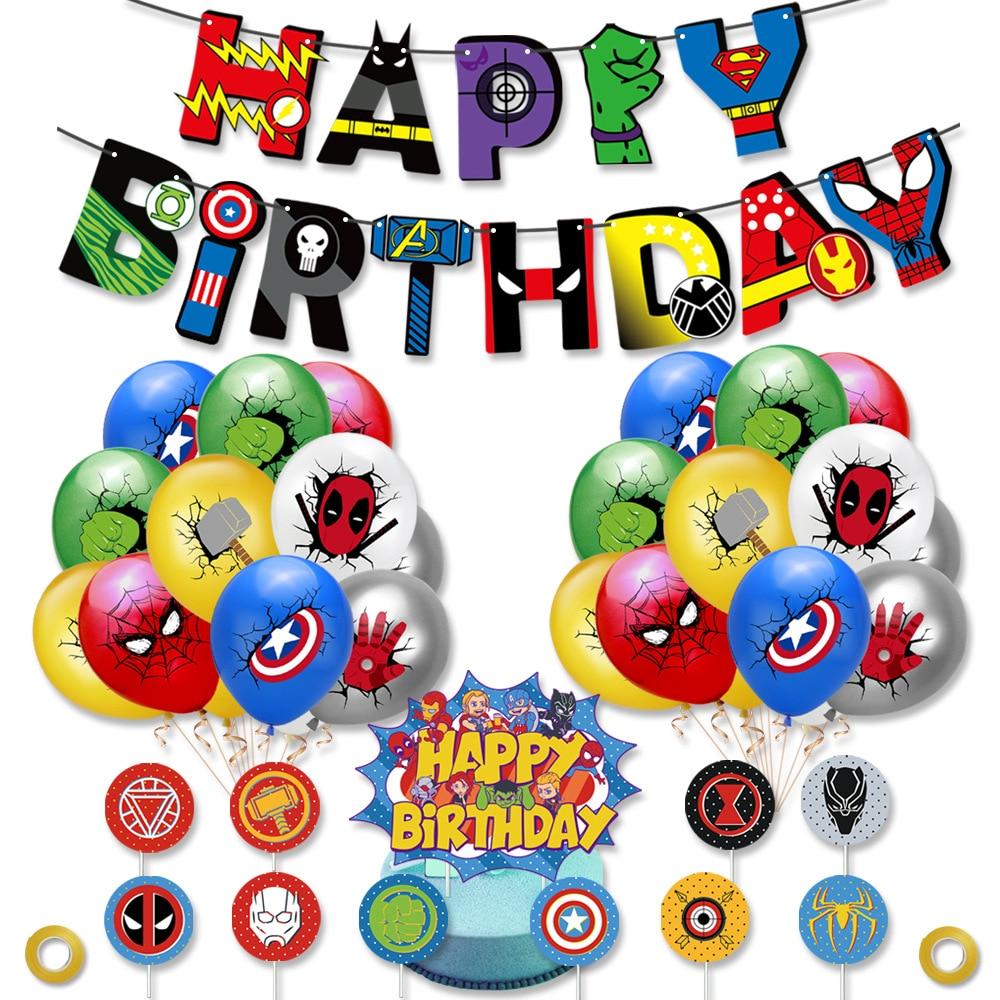 Супер герой Виниловый фон с шарами тянуть флаг торт украшения комбинированный комплект с изображением героя мультфильма, и магия тема для д...