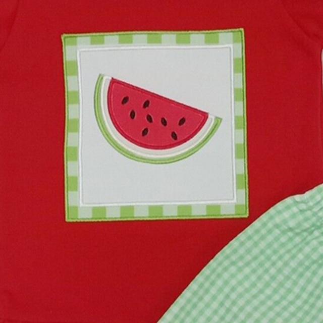 Vêtements brodés pastèque pour filles | Vêtements pour filles, haut rouge en coton, manches bouffantes, Shorts dété pour enfants Boutique, 2020