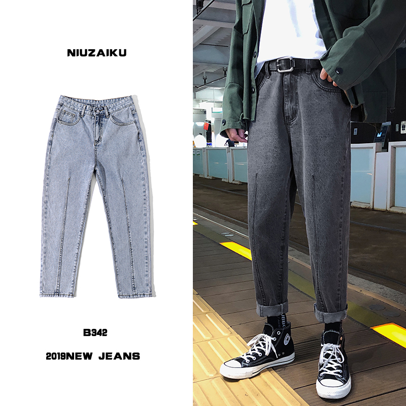 Осенние джинсы мужские модные потертые повседневные ретро джинсы мужские уличные свободные хип-хоп прямые джинсовые брюки мужские s S-2XL