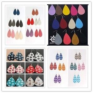 Image 1 - 0002 New Teardrop PU Leather Earrings Sequins Looking Various Looking Various Multi Colors Bohemia Water Drop Earring