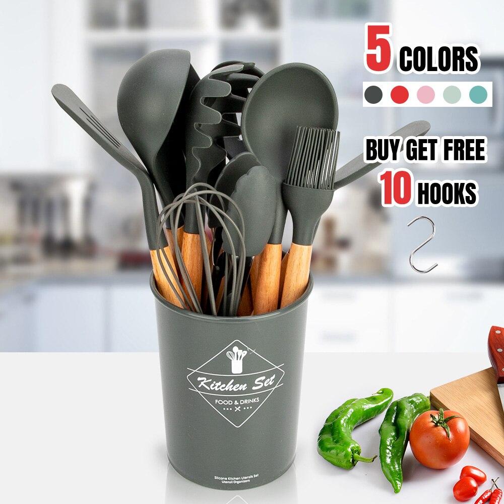 Силиконовая кухонная посуда набор кухонной утвари термостойкая кухонная антипригарная кухонная утварь Инструменты для выпечки набор кухо...