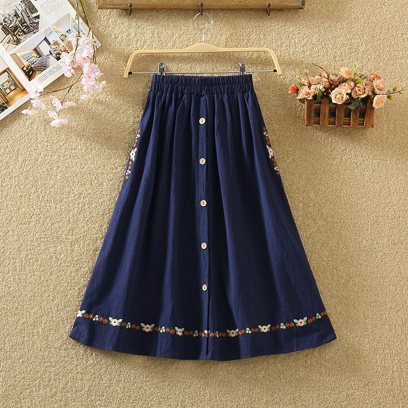 Skirts Female Long New Arrival Elastic Restoring Ancient Ways Of Literature And Art A Word Skirt Waist Embroidery Flower Pocket