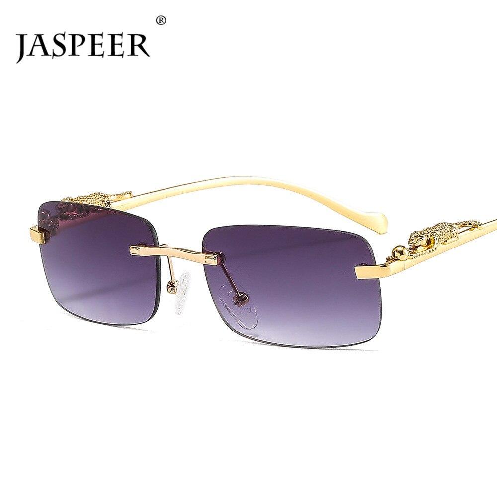 JASPEER Retro Rechteck Sonnenbrille Frauen Marke Designer Kleine Punk Randlose Sonnenbrille Männer UV400 Rahmenlose Shades Brillen