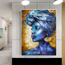 Printed Portrait Canvas Painting Blue Lady Africa Canvas Prints Wall Art Paintings Pictures Art Living Room Home Decor no frame