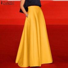 ZANZEA – Jupe longue taille haute pour Femme, tenue de soirée élégante, ligne a, été, 2021