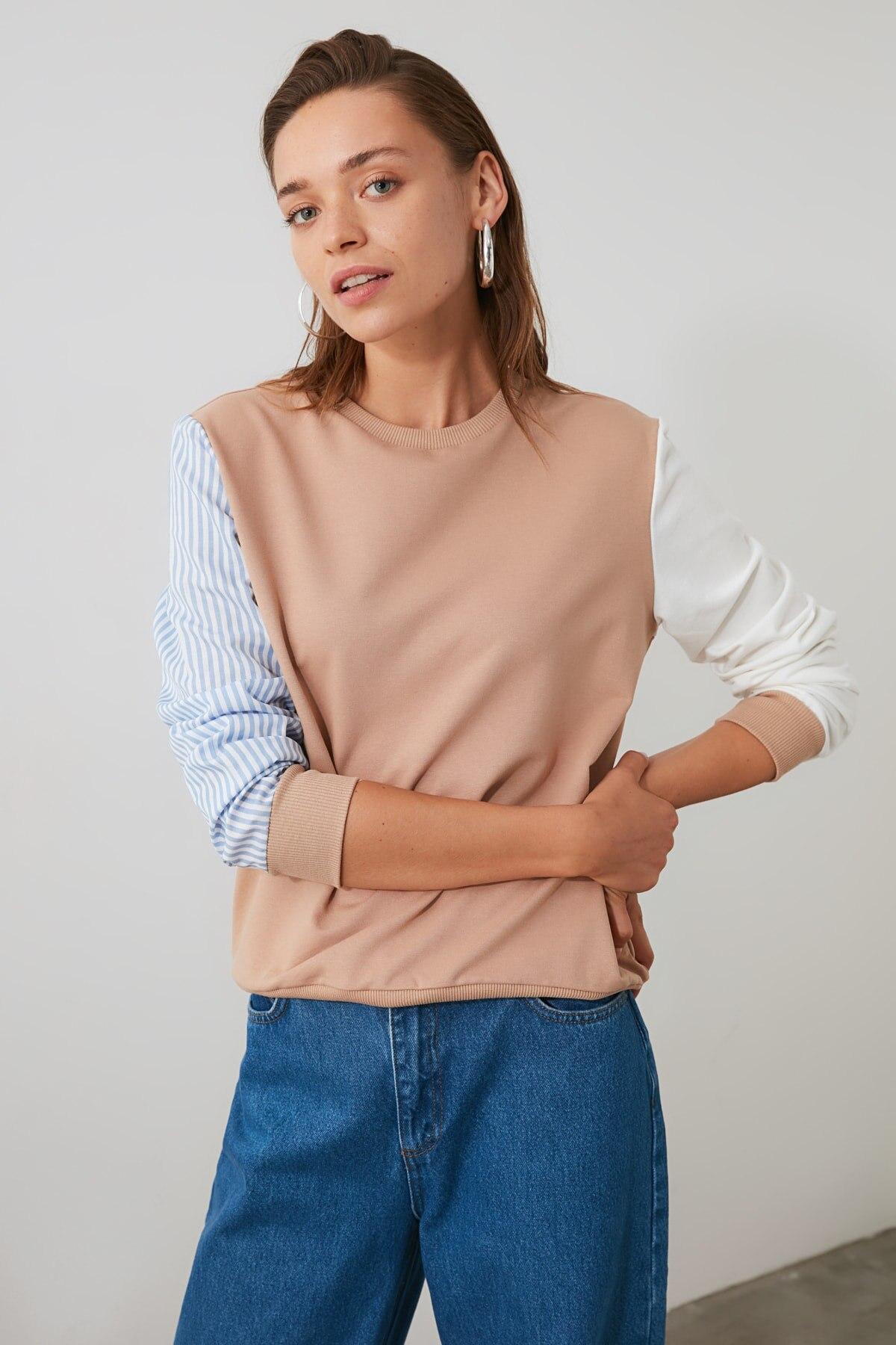 Trendyol Ecru Knitted Sweatshirt TWOAW20SW0052