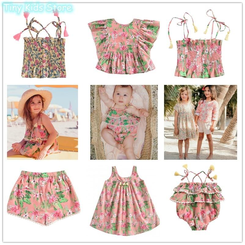LM T Shirts Tops Flower Dresses Family Matching Clothing Vestidos  Kids Dresses For Girls  Princess Dress Thanksgiving Headband