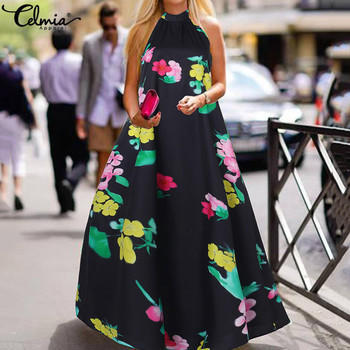 5XL Celmia Women Sexy Halter Maxi Dress 2020 Summer Sleeveless Floral Print Long Sundress Casual Ruffles Bohemian Vestidos Robe chic halter fishtail floral print sheath dress for women