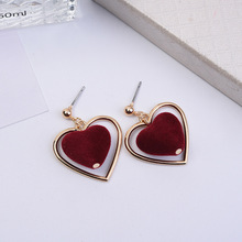 Vintage Plush Love Earrings Femininity Japanese Sweet Heart Girl Stud  aretes de mujer modernos 2018