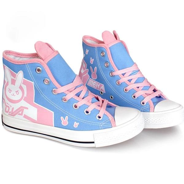Wholesale Price Game OW DVA <font><b>D.va</b></font> Cosplay <font><b>Shoes</b></font> Woman Casual Flat Rabbit Bunny Canvas High Top <font><b>Shoes</b></font> Halloween Party Props image