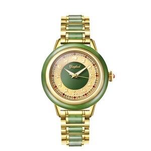 Image 3 - 自然なヒスイ防水腕時計女性機械式時計ジャスパー視点中空ケース高クラフト救済内部リロイ Mujer