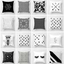 Funda de cojín geométrica de algodón blanco y negro funda de almohada de poliéster arte geométrico cojín decoración nórdica cojines