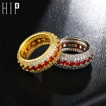 Hip Hop Bling Iced Out Charm Gold Silver Color Copper Zircon Rings For Men Jewelry