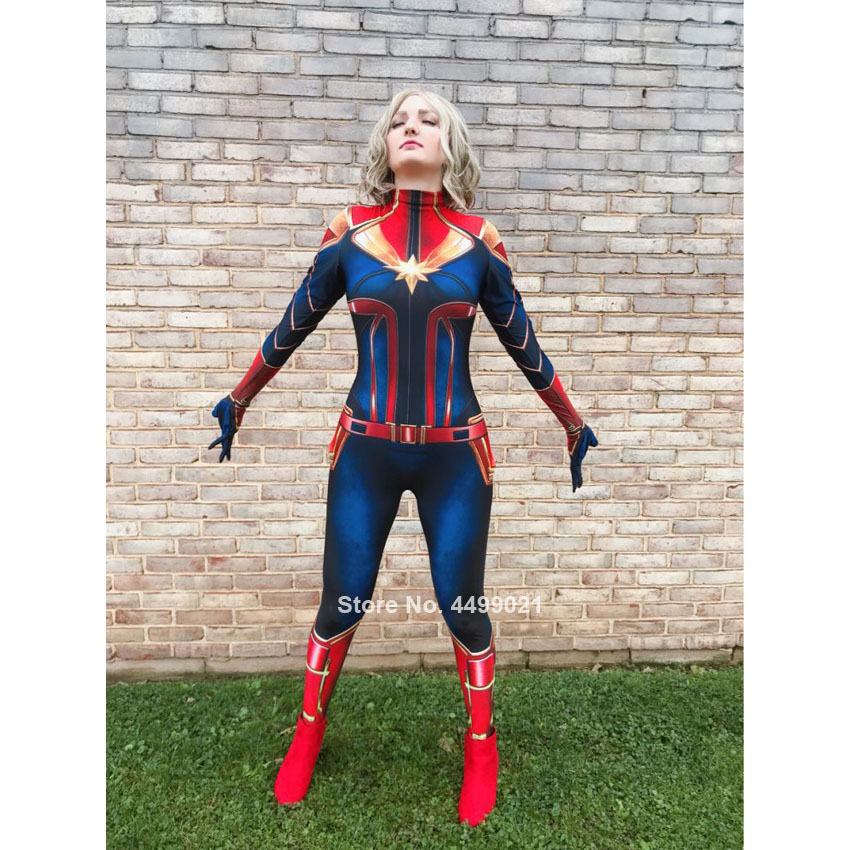 Novelty Women Heroine Captain Marvel Halloween Stitching Cosplay Costume Jumpsuit Movie Anime Stage Girl Bodysuit Gifts Zentai