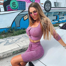 цена Autumn Female Yoga Gym Tracksuit Tight Sports Suit Women Cotton Long-sleeved T-shirt Shorts Two-piece O-neck Fitness Workout Set в интернет-магазинах