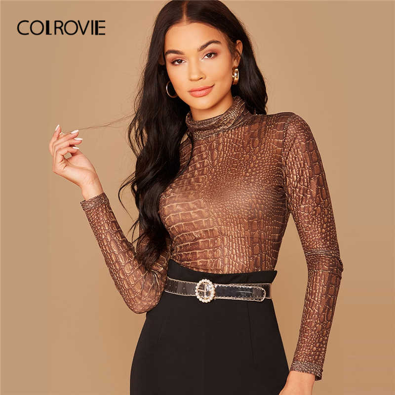 COLROVIE Gugel Neck Crocodile Print Semi Sheer Mesh Top Frauen Casual Slim Fit Tees 2020 Frühling Langarm Sexy Pullover tops
