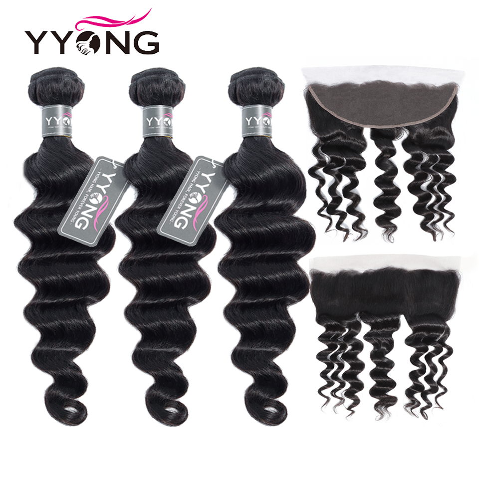 Newest 13x4 Ear To Ear Lace Frontal Closure With Bundles   Loose Deep Wave 8-30inch  Bundles With Frontal 1