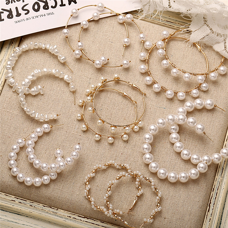 H964a8e9740414100b400e8873f05e527m - 17KM Oversize Pearl Hoop Earrings For Women Girls Unique Twisted Big Earrings Circle Earring Brinco Statement Fashion Jewelry