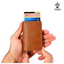 Pu Leder 2020 RFID Automatische Brieftasche Kreditkarte Halter Fall Aluminium Legierung Anti-Entmagnetisierung Anti-Theft RFID Bank kreditkarte