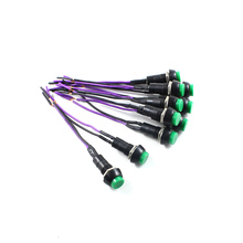 цена на Green Mini 2pin Round Toggle Self-locking Power Panel ON/OFF Push Button Switch 3A (10pcs)