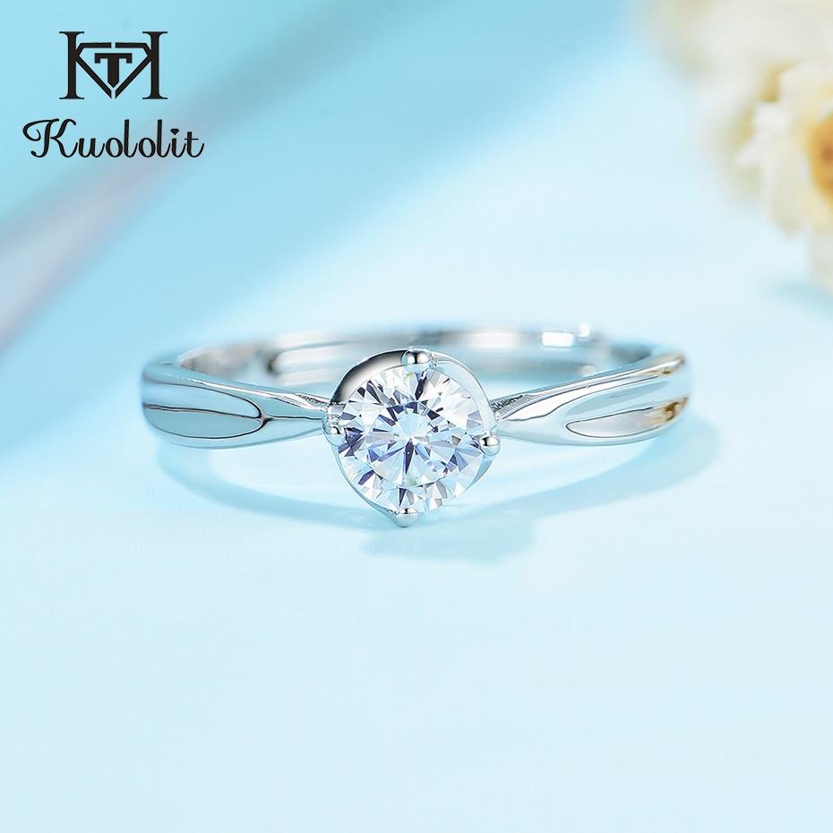 Kuolit-bagues en argent Sterling 925 naturelles pour femmes, bague en diamants de laboratoire avec griffes, classe 4, pour fiançailles, mariage et mariée