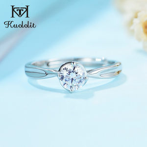Kuololit Natural Moissanite Rings for Women 925 Solid Sterling Silver class 4 claw lab Diamond ring for Engagement Wedding bride