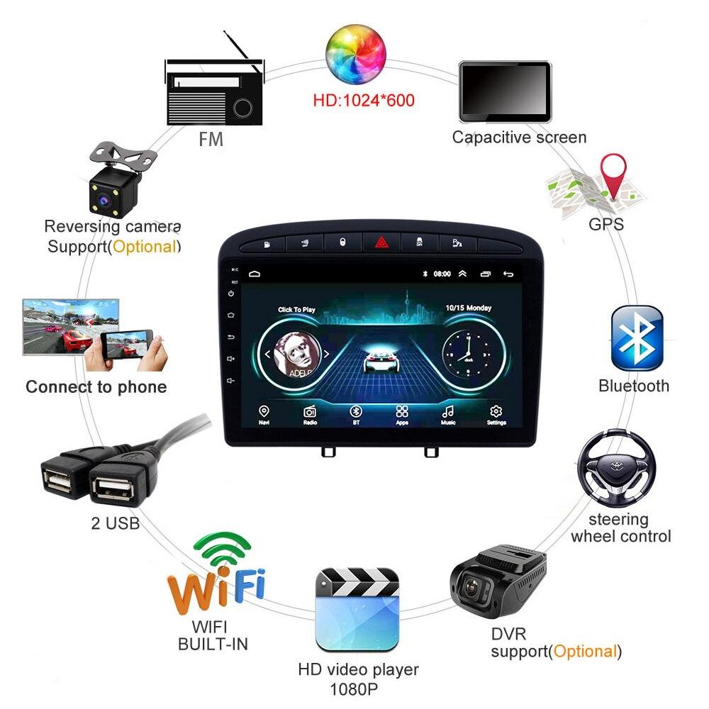 Autoradio per PEUGEOT 308 408 unità di testa 2010 2016 sistema multimediale di supporto GPS Carplay inversione della macchina fotografica SWC TV FM Android 8.1 9 - 4